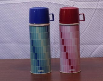 Vintage Pair of Thermos - one red and one blue