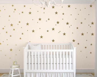 Gold Star Wall Decals, Gold Star Decals, Nursery Star Decals, Star Vinyl Decals, Childrens Wall Decals, Trendy Decals, Kids Stars