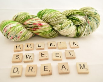 "Hand-dyed yarn, ""Hulk's Sweet Dream"" variegated, speckled, soft and squishy yarn. Great for socks or shawls. 80/20/ Superwash wool/Nylon"