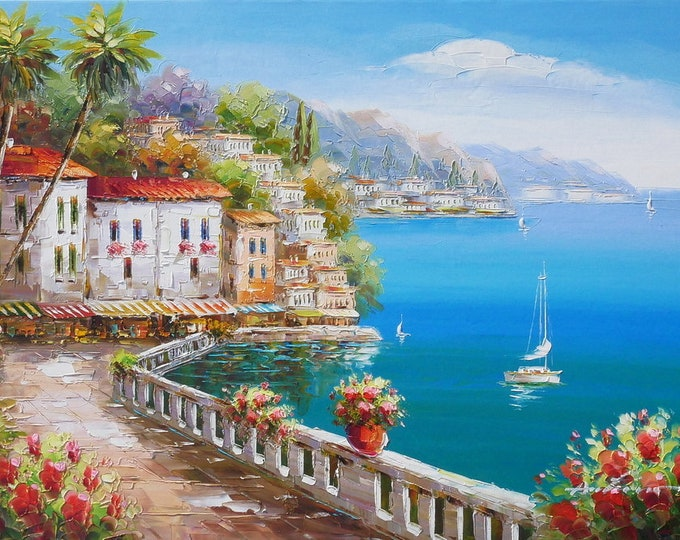 Amalfi Coast Oil Painting Mediterranean Art Oil on Canvas Wall Art Beautiful Decor