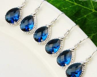5% OFF SET OF 3 Bridesmaid Earrings - Navy Blue Earrings - Silver Sapphire Blue Glass Drop Earrings - Bridesmaid Gift  - Wedding Jewelry