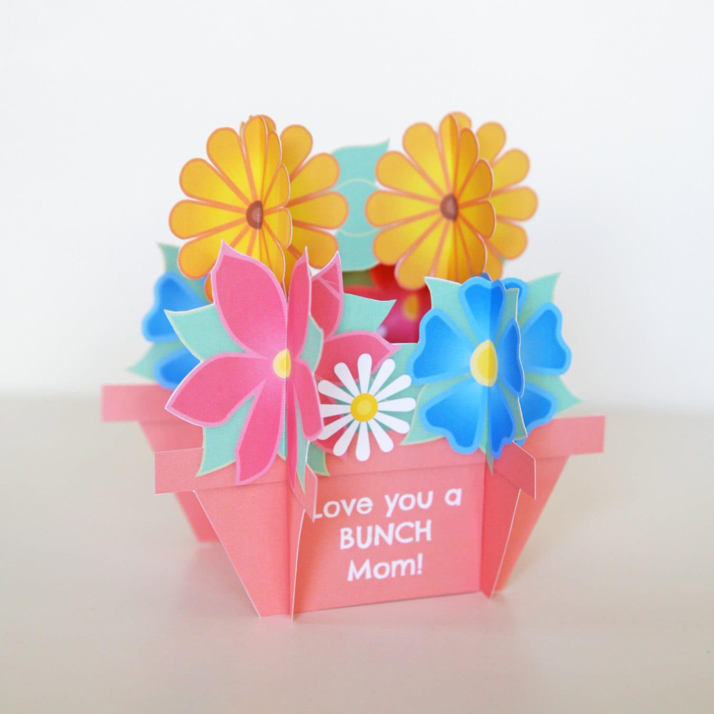 Mother\'s Day 3D Flower Bouquet Pop Up Card