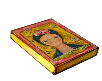 Frida y sus Trenzas -  Giclee print mounted on Wood (4 x 5 inches) Folk Art  by FLOR LARIOS