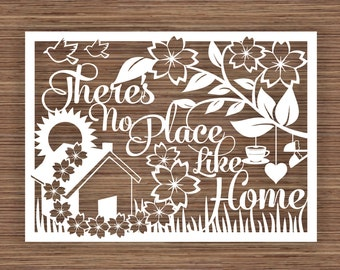 There's No Place Like Home PDF SVG (Commercial Use)  Instant Download Papercut Template