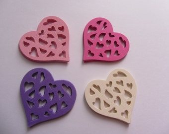 Paper hearts - Weddings - 40 die cut hearts - die cuts - paper heart punches - paper decorations - scrapbooking - party cupcake toppers