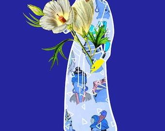 Faces on Her Dress Art Print, Blonde Girl with Botanical Illustration, Blue Dress Fashion Illustration, African American  Natural Hair Art