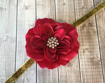 Red & Gold Headband -  Glitter Rhinestones - Woman Newborn Infant Baby Toddler Girls Adult