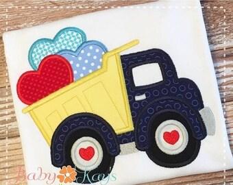 ON SALE Valentine Dump Truck Applique Design 4x4, 5x7, 6x10, 8x8