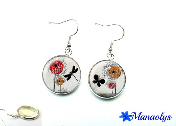 Dragonfly, butterfly, flowers, glass 1478 cabochons earrings