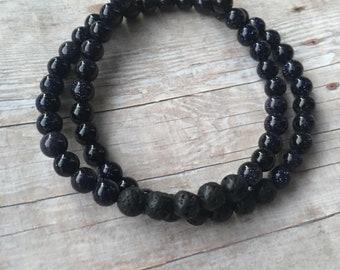 Obsidian Double Wrap Essential Oil Diffuser Bracelet Lava Bead Gemstone Bracelet  Diffuser Bracelet Aromatherapy bracelet