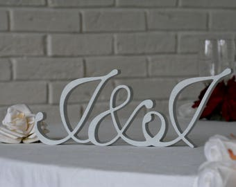 Silver dust glitter wedding INITIALS MONOGRAM Bride and Groom letters top table decor, Freestanding Wedding signs