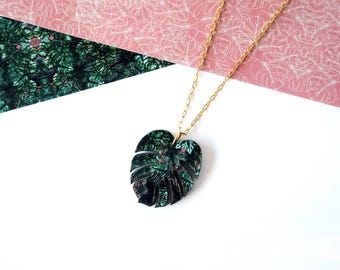 Monstera Necklace -  Plant Necklace - Tropical Necklace - Botanical Jewellery - Cheese Plant Pendant - Monstera Jewellery - Tropical Foliage