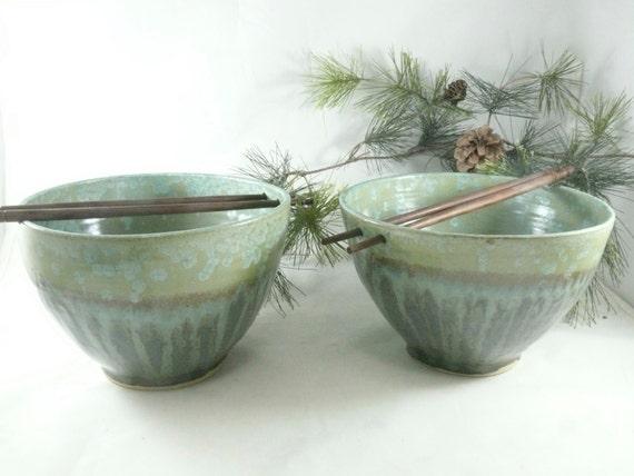 Large Pho Noodle Bowls Ceramic Rice Bowl Chopstick Bowl Green