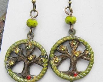Tree Earrings, chartreuse Earrings, Tree of life Earrings, Nature Jewelry
