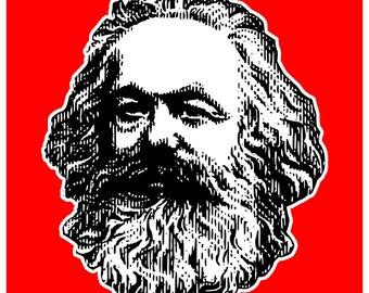 New Red Color Sticker Karl Marx Communist Manifesto Socialist Radical Revolution