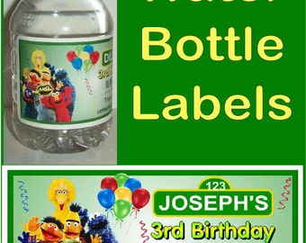 20 SESAME STREET BIRTHDAY party water bottle labels ~ glossy ~ waterproof ink