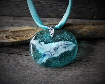 Grey whale - Fused glass pendant