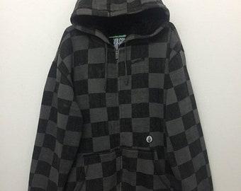 15% SALE Volcom Hoodie/Vintage Volcom Checkered Zip Up Sweatshirt Hoodie/Black Grey/Size XL