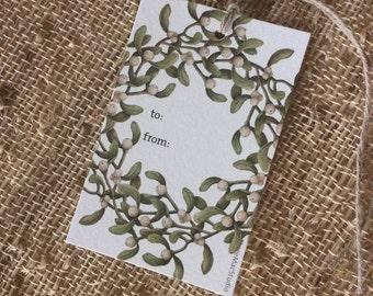 Mistletoe Wreath Gift Tags: Set of 3