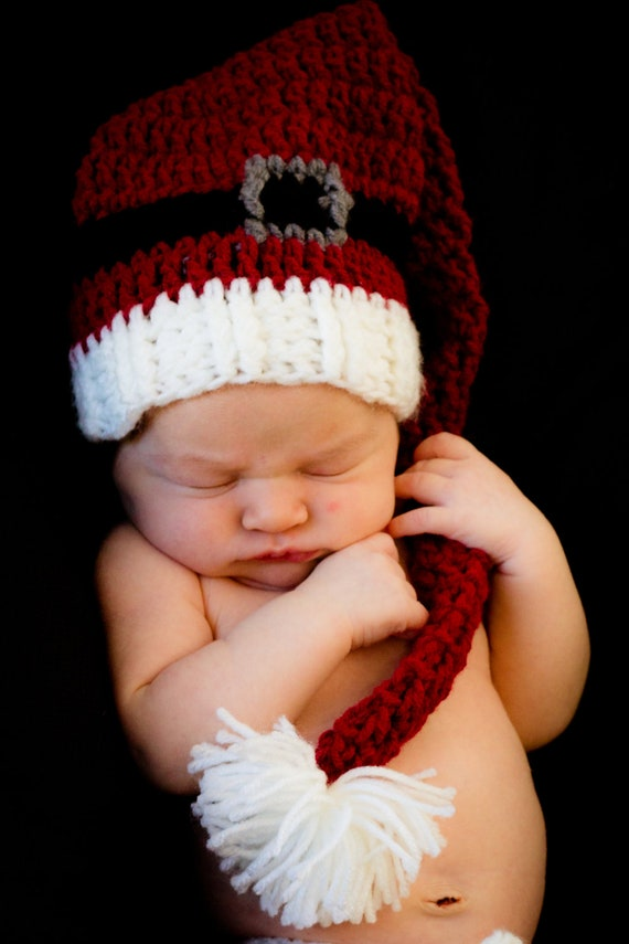Baby Santa Hat Boy Girl Newborn Toddler Kids, Santa Costume Outfit, Long Tail Elf Hat, Baby Christmas Hat, Props, Photo, Holiday