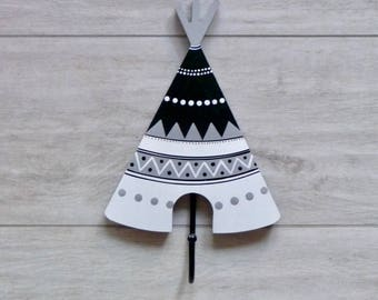 Wall hooks, Coat hooks,  Kids room decor, Kids wall hooks, Wall decorations, Nursery decor - Black and white teepee
