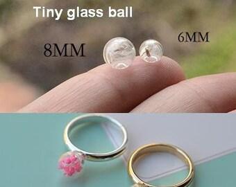 10pcs 6mm 8mm Tiny Glass Bubble Ball, Glass ball necklace pendant, Jewelry Pendant