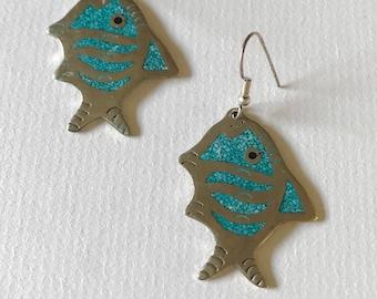 Vintage Alpaca Silver Turquoise Fish Dangle Earrings