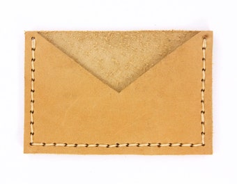 Leather Card Sleeve - Mustard Yellow