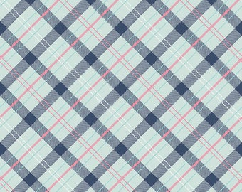 Blue and Pink Plaid fabric -Riley Blake, pink and blue geometric, cotton quilting fabric, sewing fabric