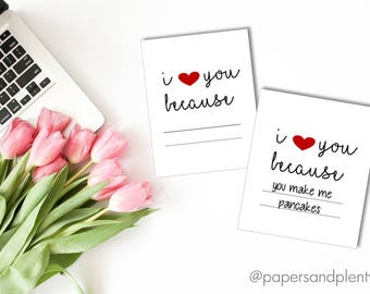 "DIGITAL FILE - Anniversary Card ""I Love You Because"" (Fill in the Blank) 