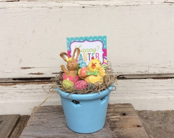 AGD Easter Decor - Happy Easter Bunny and Chick Blue Display