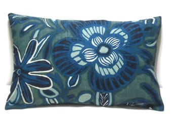 Decorative Lumbar Pillow Cover Shades of Blue White Same Fabric Front/Back Toss Throw 12x18 inch