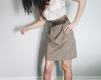 Vintage** Cotton Plaid High Waist Skirt