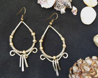 Handmade earrings, boho earings, brass earings, hoop earings, gypsy earings, hippie, gift for her, unique earings, bohemian earings, tribal