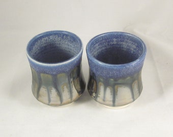 Handmade Ceramic Blue Metallic Cups