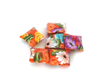 Orange Pillow Beads, Bright Flowers Polymer Clay Squares 6 Pieces