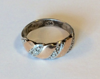 Vintage Sterling Silver and 18k Band, Midi Ring, size 4