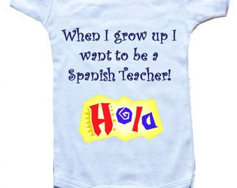 Spanish baby gift etsy baby one piece body suit personalized gifts when i grow up i negle Images