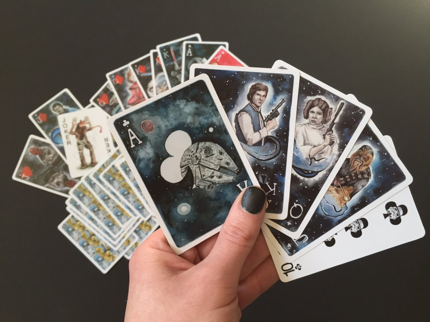 Star Wars Inspired Playing Cards Watercolor Paintings Fan Art