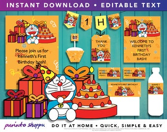 Doraemon Birthday Party Printables / Invitation - INSTANT DOWNLOAD - Fully EDITABLE text