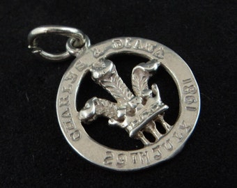 Charles & Diana Wedding Charm... Sterling Silver Bracelet Pendant... Prince of Wales Feathers... 1981 Royal