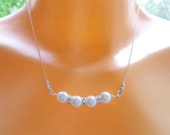 Pearl bar necklace, White pearl necklace, Wedding necklace, Mother of the Bride, Mother of the Groom, by Sara Gal