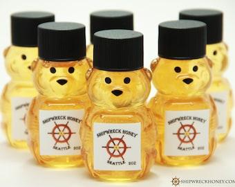 Single Honey Bear, 2 oz, Mini Bear, Shipwreck Honey, Artisan Honey, Wedding Favor