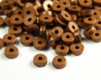 40 Pcs - 5x2mm Copper Metal Spacer Beads - Donut Spacer - Heishi - Spacer Beads - Jewelry Supplies