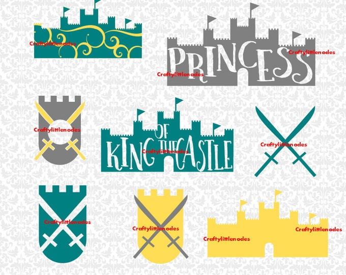 King Castle Princess Swords Midevil Swirl Queen Prince Children Monogram SVG STUDIO Ai EPS Instant Downloads Commercial Cricut Silhouette