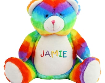 Personalised Rainbow Teddy Bear, Large Zippie Bear Soft Toy, Personalized Bears, ANY TEXT