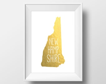 New Hampshire State Gold Foil Printable Art, New Hampshire Print, New Hampshire Art, Modern Art,