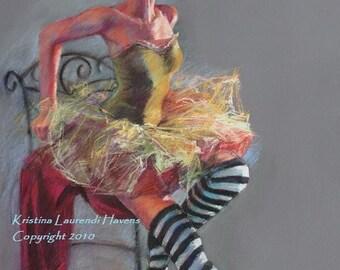 Ballet Dancer with Striped Socks - Large Archival  Fine Art Print