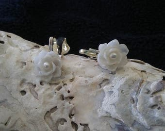 Petite SEASHELL Flower Clip Earrings -handcrafted with Vintage 1920's shells (Genuine Oyster Pearls)