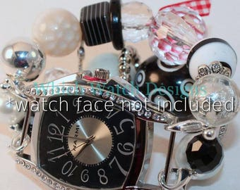 Funky Snowman.. Chunky White, Black and Clear Beaded Watch Band, Interchangeable